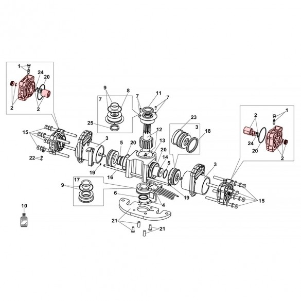 Flanges and Positive Stops For S800H ENC Drive Unit 100° - FAAC 63003309