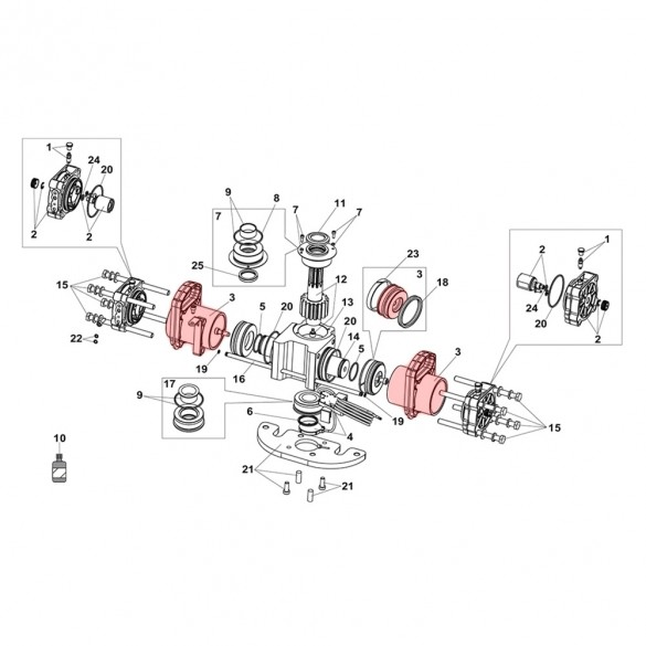 Cylinder and Piston Group For S800H ENC Drive Unit 100° - FAAC 63003311 (Contains Red Highlighted Part Only)
