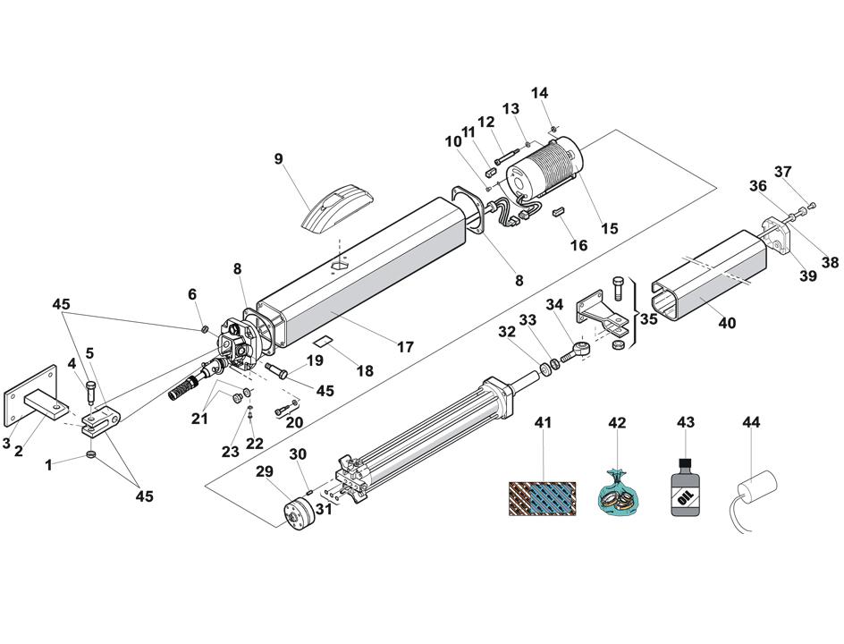 FAAC 400 Swing Gate Operator Parts Diagram