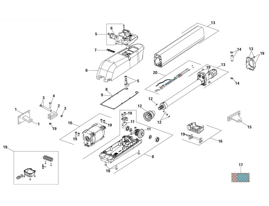 FAAC 415 Swing Gate Operator Parts Diagram