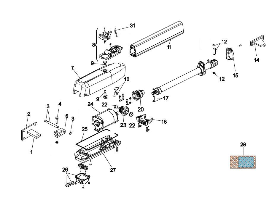 FAAC 415-24V Swing Gate Operator Parts Diagram
