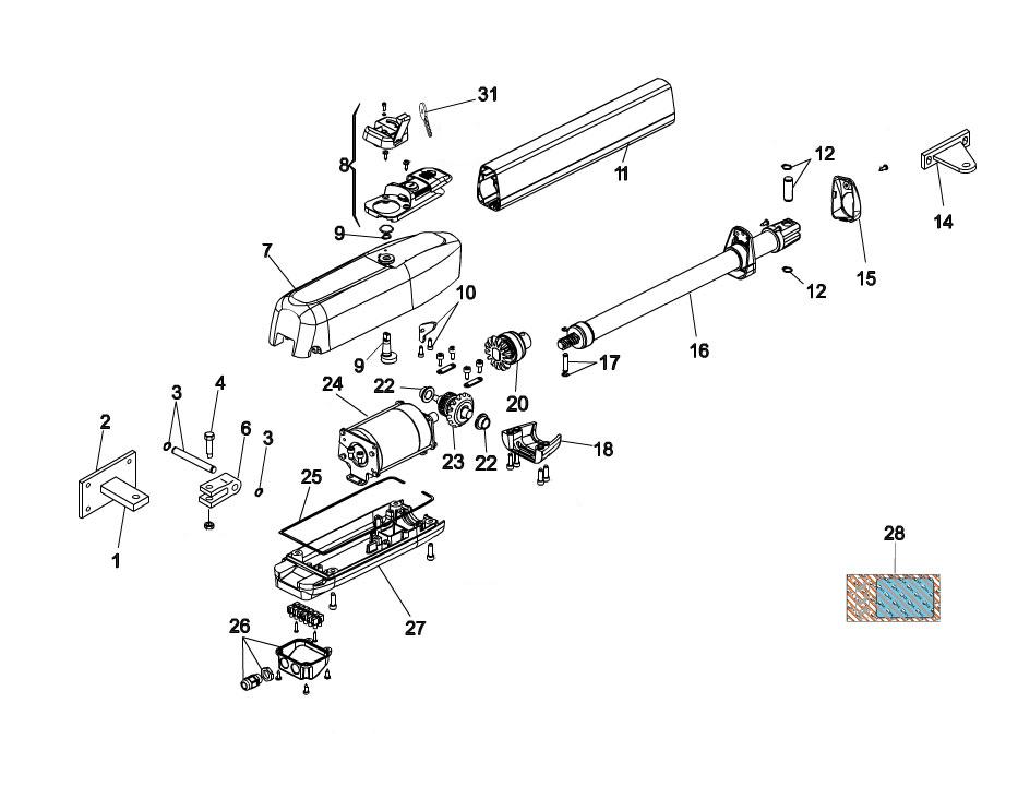 FAAC 415-L 24V Swing Gate Operator Parts Diagram