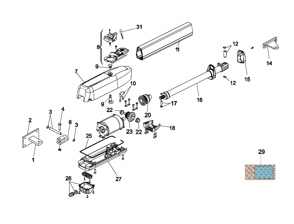 FAAC 415-L Swing Gate Operator Parts Diagram