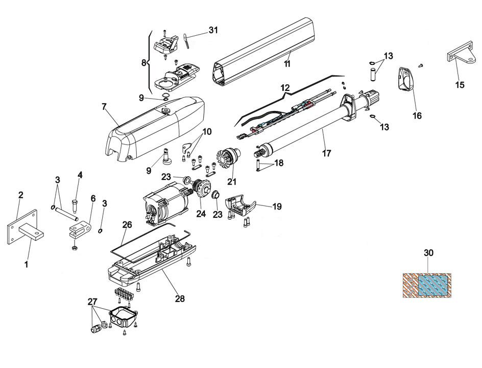FAAC 415-L LS Swing Gate Operator Parts Diagram